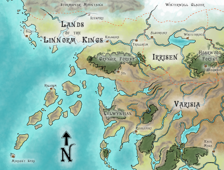 """""""Map - Golarion - Up Northwest"""" by Ashton Sperry. CC BY-NC-ND 3.0."""