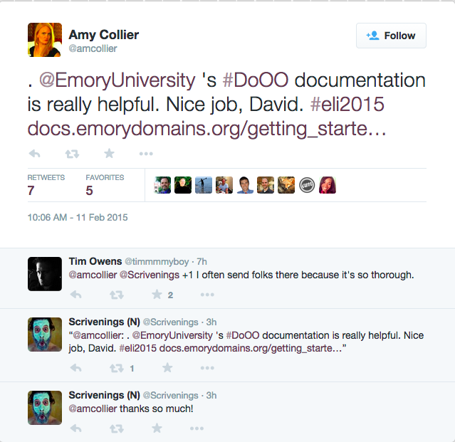 "A tweet from Amy Collier to David Morgen reading: ""Emory University's Domain of One's Own documentation is really helpful. Nice job, David."" Tim Owens chimes in to say: ""I often send folks there because it's so thorough."" David replies: ""Thanks so much!"""